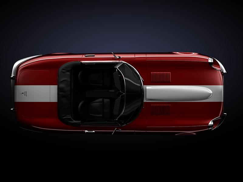 Jaguar 3d car red illustration luxury render metal stripe
