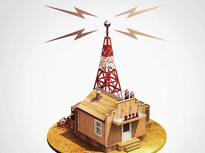 RZZA 3d illustration radio oldie 50s station sunny prairie