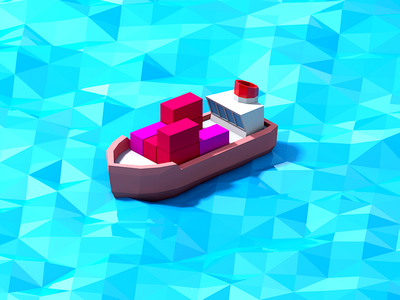 Brave Little Ship 3d low-poly ship sea polygons illustration red blue game cute unity asset