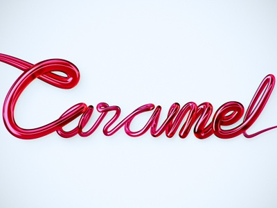 Caramel 3D Logotype 3d logo from 2d to 3d caramel candy volume web 2.0 red shiny glossy typography type