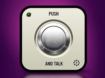 Push and Talk button shiny icon purple chrome text push talk mic led metal