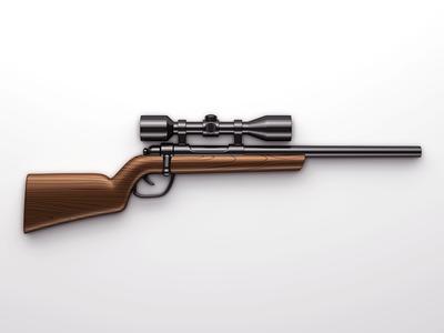 Sniper Rifle  deadly sharp weapon illustration black brown 3d metal wood scope rifle sniper