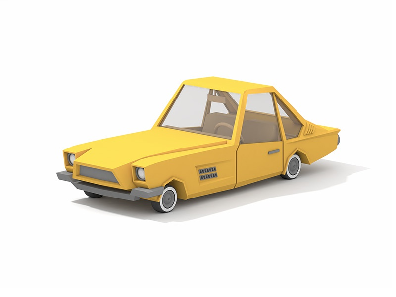 Ford Mustang Allegro 1962 minimal vehicle render allegro mustang ford 60s yellow poly low car 3d