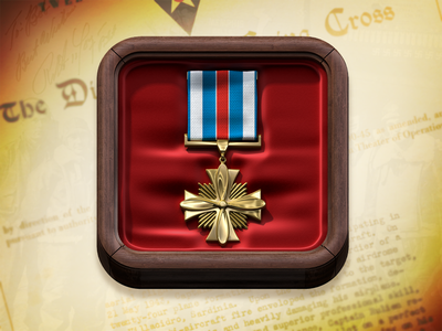 Promotion New Icon ios icon 3d medal case wood red gold yellow metal texture