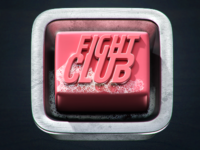 Fight Club Icon soap 3d metal pink foam fight club reflections icon scrathes illustration
