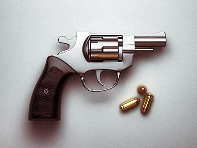 Bang gun silver illustration bullets chrome 3d realistic visualisation light reflections
