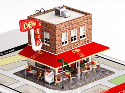 Coffee Shop Illustration 3d iphone illustration tiny little coffee shop cafe red map navigation route realistic realism photorealistic cg texture app mark