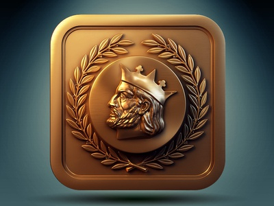 Alfonso X icon ios metal 3d profile copper border crown bass-relief stamp logo man king beard reflections rounded