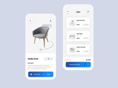Furniture app concept 🪑 illustration appstore store user ui app gradient blue furniture graphic design logo animation minimal branding design clean simple clean ui