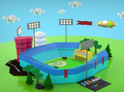 Baseball Stadium Low Poly low poly stadium baseball modeling keyshot game design drawing creative unity3d unity lowpoly design blender3d