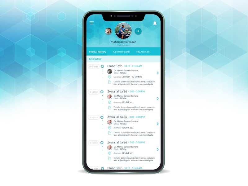 Profile page, Health App profile health app app design turquoise uxui design app