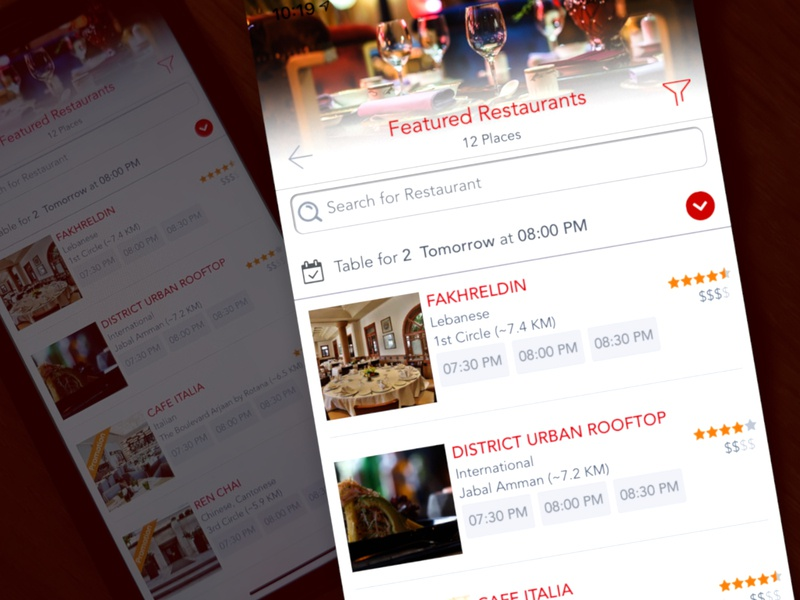 Restaurants search list reservation restaurant red list search