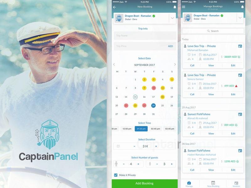Captain Panel mobile app sailor man ui ux dates blue sea boat reservation booking trip mobile app design app design mobile app mobile captain