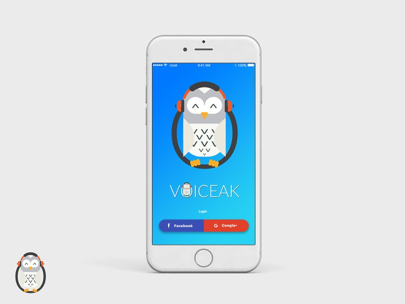 Voiceak Mobile App - login screen mobile app mobile app design design login box songs music headset owl recording voice bird logo bird icon bird blue ui ux logo design logo sign up login