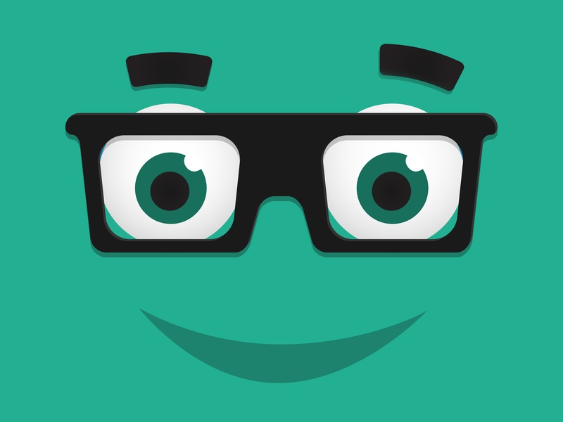 Nerd Vector designer drawing design green eyes glasses vector illustraion nerd