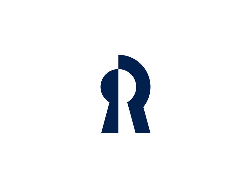 R Locksmith Logo locksmith keyhole geometry r letter logo minimal logo design branding blue
