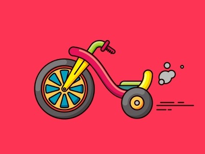 Chopper tricycle illustration line ride