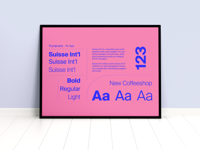 Suisse Int'l Typographic Poster for Caffind blue and pink type design case study type suisse
