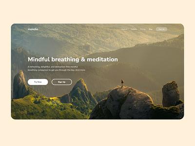 Mendio - Photo Overlay Landing Page overlay landingpage meditation mental landing page mendio