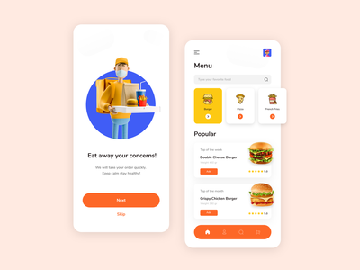 Food delivery confinement covid-19 pandemic pizza 3d human hamburger design icon home screen ui app onboarding shot food delivery food