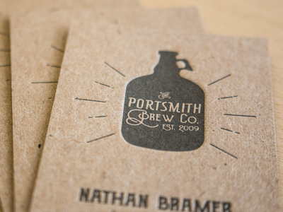 Portsmith Brew Co business card brewery texture chipboard letterpress