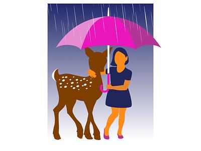 Girl sharing an umbrella with a deer gentle kindhearted rain umbrella deer girl vector illustration