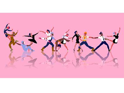 Dancing professionals dancing harmony solidarity diversity professions dance design vector illustration