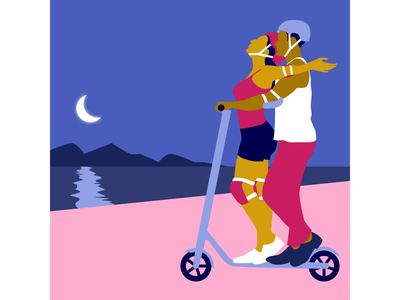Sharing an electric scooter romantic moonlight electric scooter love romance couple design vector illustration