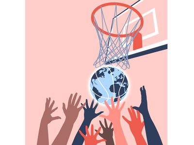 basketball globe with hands competition sports basketball player hoop globe basketball diversity unity design vector illustration