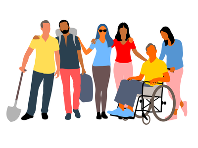 Diverse group group unity harmony diversity connected design illustration vector
