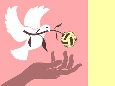 World Harmony Movement by Silk-Knot Society connected vector branch dove illustration unity harmony peace