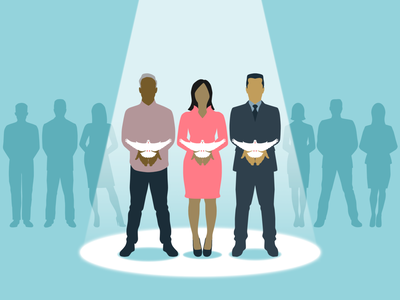 Donors in the spotlight dove connected humanitarian generosity kindness design unity harmony donor people illustration vector