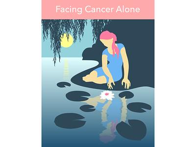Facing Cancer Alone kindness empathy support loneliness cancer design illustration vector
