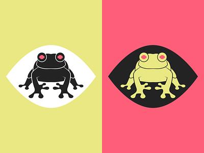 Frog logo vibrant pop bright colorful branding frog logo illustration design vector