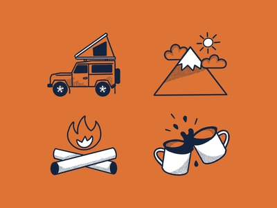 Outdoor Adventure Icon Set doodle simple rebound shot adventure outdoors icons icon logo apple pencil procreate illustration flat design