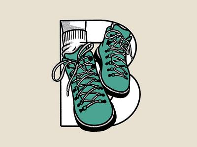 Outdoor Alphabet: B for Boots handrawn design flat illustration procreate outdoor adventure rebound alphabet typography mountain branding logo graphic design