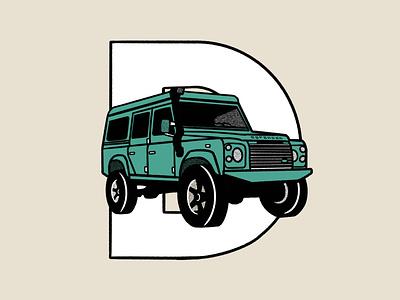 Outdoor Alphabet: D for Defender ipad logo adventure alphabet outdoors defender land rover mountain graphic design typography procreate illustration flat design