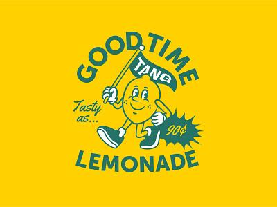 Good Time Lemonade! cartoon character mascot tasty as lemon sunny shot rebound lemonade vector typography branding logo illustration flat design