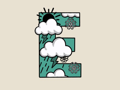 Outdoor Alphabet: E for Elements symbol icon icons weather hand drawn alphabet outdoor adventure mountain graphic design procreate typography branding logo illustration flat design
