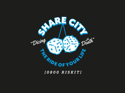 Daily Logo Challenge Day 29: Rideshare Car Service Logo rideshare furry dice dice taxi the ride of your life dicing with death share city graphic design vector typography branding logo illustration flat design