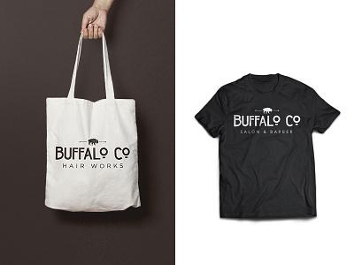 Buffalo Co Merch barber salon typography logo buffalo