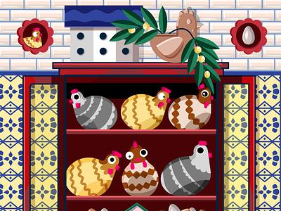 Chickens flat web illustration design ipad ipad pro affinity designer affinity cozy vintage interior home colorful art pattern mediterranean vector illustraion