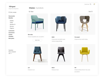 Adequat - Ecommerce webdesign uxdesign uidesign trendly quickview product minimal ecommerce design concept checkout category
