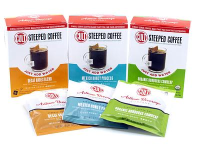 CULT Steeped Coffee design beverage packaging
