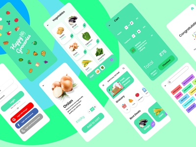 Happy Groceries flat android app android minimal ui vector illustration design