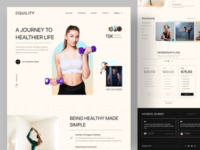 Equility - Fitness Landing Page life program healthy health treadmill joging exercise gym fitness website minimal interface clean ui landing page