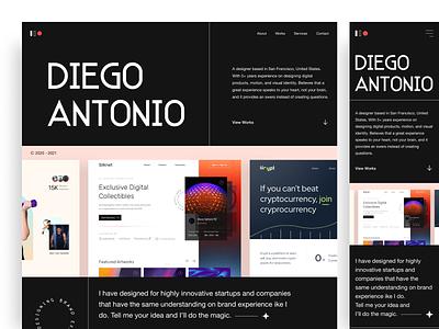 Diego Antonio - Personal Website ux ui white black experience digital product personal website personal portfolio website minimal interface landing page