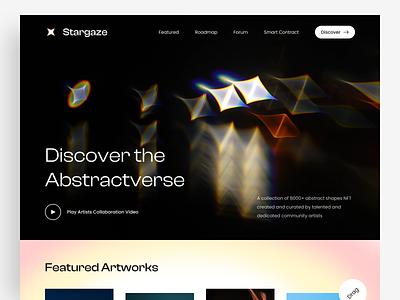 Stargaze - NFT Marketplace eth stargaze discover smart contract futuristic website app crypto nft interface landing page