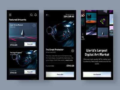 NFT Marketplace Mobile App uiux whitespace ethereum modern holographic defi morva dark mobile nft art bitcoin eth crypto marketplace nft design clean ui minimal app interface