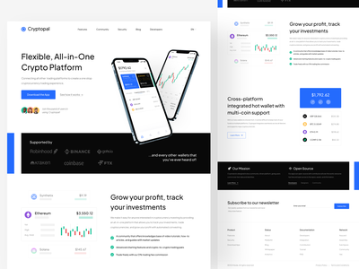 Cryptopal - Crypto Landing Page tracking investment profit trade trading finance nft defi blockchain eth bitcoin mockup design crypto clean ui website minimal app landing page interface